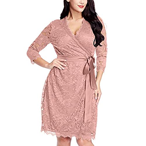 Grapent Womens Plus Size Misty Rose Floral Lace 3 4 Sleeves Formal True Wrap Dress Cocktail 1X
