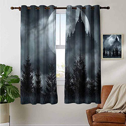 petpany Bathroom Curtains Halloween,Magic Castle Design,Room Darkening Waterproof Curtains for Bathroom 42