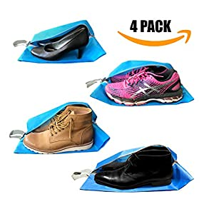 Shoe Bags for Travel - Shoe Storage Bags with Zippers - Waterproof - For Women & Men - Blue - 4 Pack by the Journey Bird