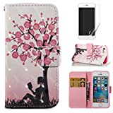 For iphone 5/5S iphone SE Case and Card Holder,OYIME [Flower Tree and Girl] 3D Glitter Pattern Design Bookstyle Leather Wallet Holster with Wrist Lanyard Kickstand Function Full Body Protective Bumper Magnetic Closure Flip Cover with Screen Protector