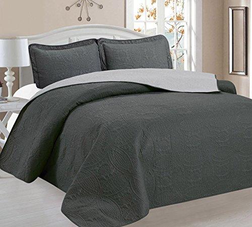Home Sweet Home Victoria Design Reversible 3 PC Quilt Bedspread Sets (King, Gray/Sliver)