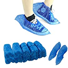 Disposable Shoe Covers 100 Pieces, Durable, Water Resistant, Non-Toxic, One Size Fits Most, Blue
