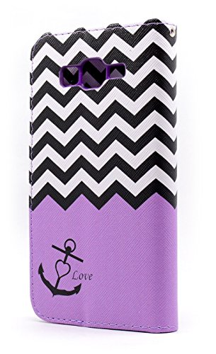 Galaxy Grand Prime Case, NageBee - Design Dual-Use Flip PU Leather Fold Wallet Pouch Case Premium Leather Wallet Flip Case for Samsung Galaxy Grand Prime (G5308 G530) with free Microfiber Cleaning Cloth (Wallet Purple chevron stripe)