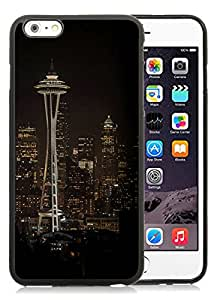 Seattle Space Needle Night City Skyline Black For iPhone 6 Plus 5.5 INCH TPU Case Genuine and Cool Design