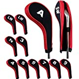 Andux Number Print Golf Iron Covers with Zipper Long Neck 10pcs/set Black/red Mt/w05, Outdoor Stuffs