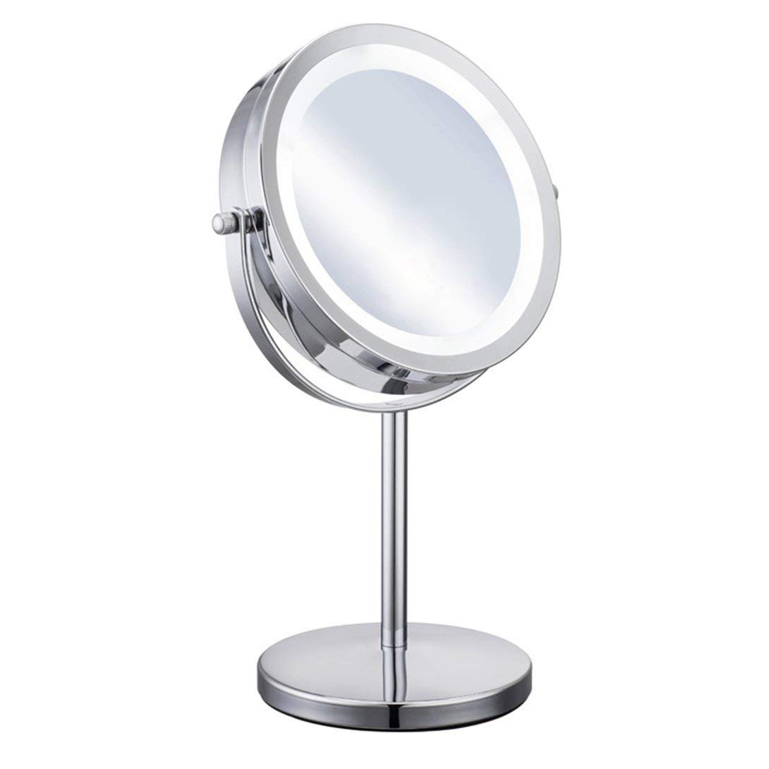 RUIMA Desktop Double-Sided led Makeup Mirror Free Rotating Table Dressing Table HD Fill Light with Light 5 Times Magnifying Glass Headlight Round Bathroom