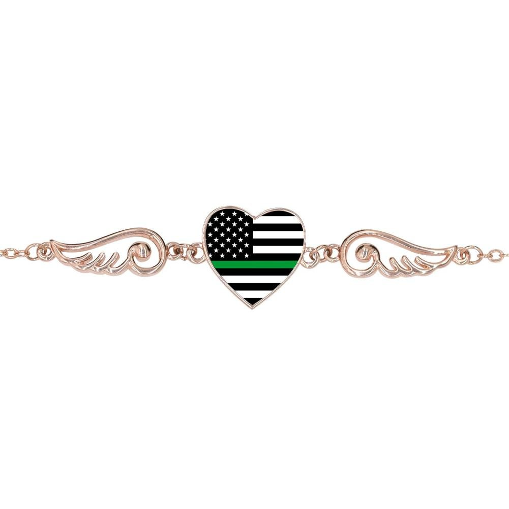 LUQeo Thin Green Line American Flag Personalized Design Heart Charm Bracelet Jewelry