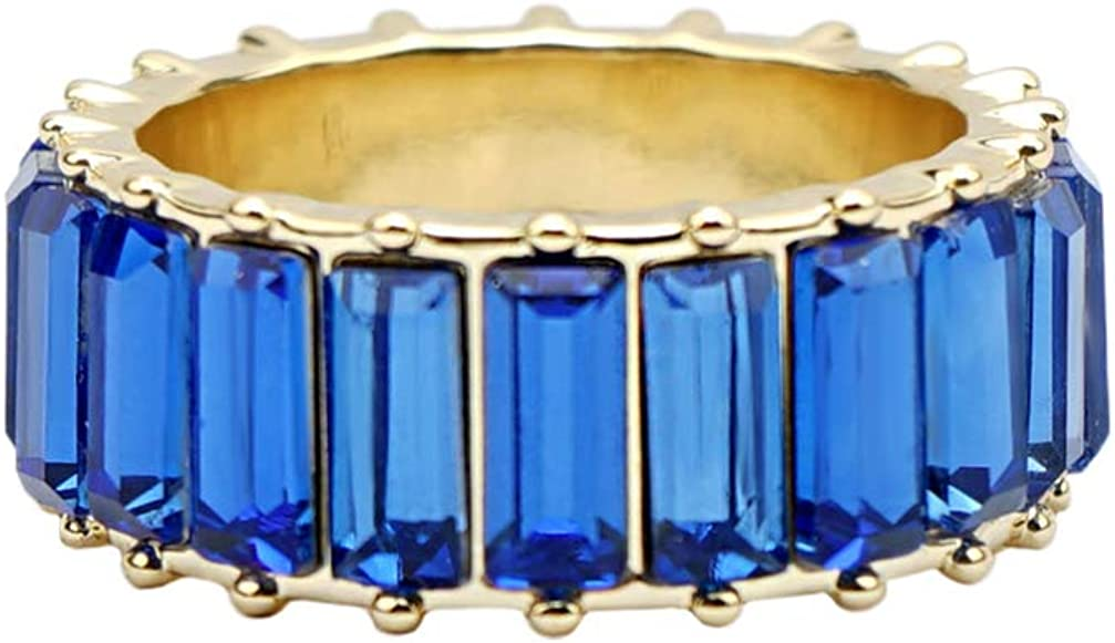 Holibanna Anillos de Zafiro Azul Baguette Anillo de Diamantes Anillos de Dedo Joyería para Mujeres Niñas (9)