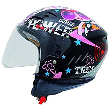 Shiro SH-20 Tres Chic Kids - Casco para moto infantil, color negro y
