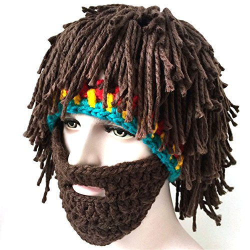 Bestag Wig Beard Hats Hobo Mad Scientist Rasta Caveman Handmade Knitted Warm Winter Caps Funny Party Mask Hair Beanies (Brown)
