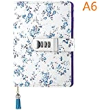 Floral Diary with Lock PU Leather Combination Lock Journal A6 Refillable Leather Diary Locking Personal Journal to Write in (Blue)