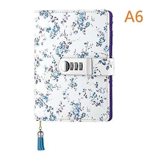 Password Lock, A6 Size, PU Leather Password Notebook with Combination Lock Refillable Student Diary Notepad (Blue) (Combination Notebook Lock)