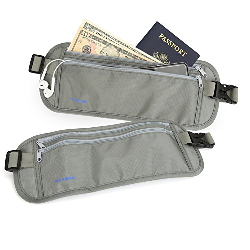 [2-Pack] RFID Shielding Traveling Belt Case BIRUGEAR Gray Passport Money Belt for Travel / Hidden Waist Wallet