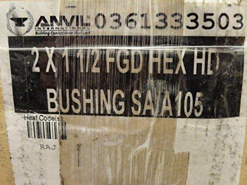 Anvil 2139 Forged Steel High Pressure Pipe Fitting, Class 6000, Hex Head Bushing, 2'' NPT Male x 1-1/2'' NPT Female