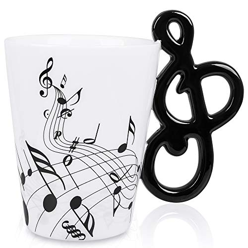 LanHong - 13.5 oz Music Mug Musical Notes Design Coffee Cup Ceramic Music Musical Notes Cup Gift for -