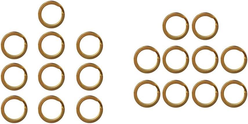 15mm 20mm 25mm 28mm 30mm 32mm 15mm Pack 10 Brass Flat Split Round Rings Key Ring Key Holder Key Fob Hook Loop Keychain Accessories