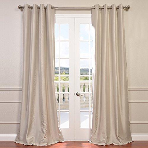 - Half Price Drapes PTCH-BO130907-120-GR Grommet Blackout Faux Silk Taffeta Curtain, Antique Beige