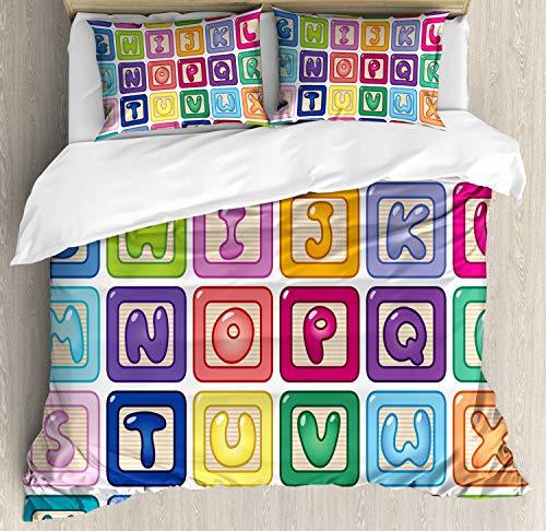 - Nursery Activity Bedding Duvet Cover Set, Colorful English Alphabet Blocks Childrens Cartoon Balloon Letter Design, Decorative 3 Piece Bedding Set with 2 Pillow Shams, Multicolor -King