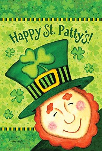 Toland Home Garden Happy St Patty's 28 x 40 Inch Decorative St. Patrick's Day Leprechaun Shamrock Clover House Flag ()
