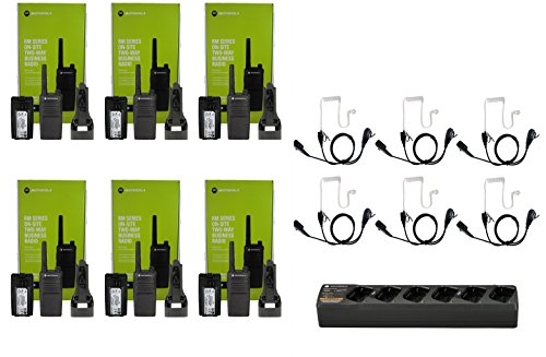 QTY 6 Motorola RMU2040 UHF 2 watt 4 channel radio and Surveillance Headset and 1 Multi-Unit Gang Charger PMLN6384