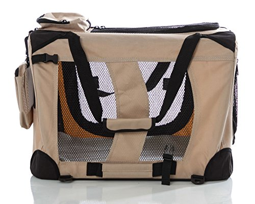 WPS Pet Carrier for Small Pets– Features Super Strong Steel Frames for Ultimate Strength. Contains 3 Zippered Pockets, 5 Mesh Panels for Airflow! 18''x14''x17''.