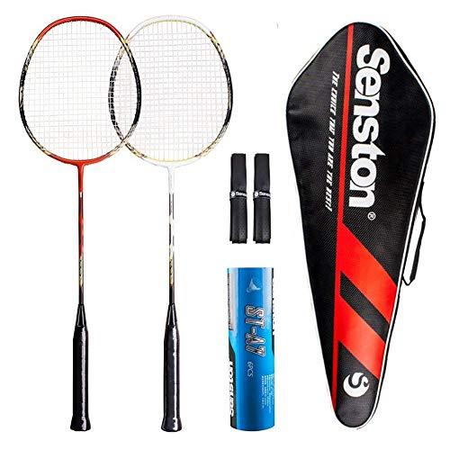 Senston Badminton Racket Set Two Pieces Badminton Racquets Graphite Badminton Rackets with Racket Cover 1/2 Dozen Shuttlecock and 2 Overgrips(Random Color)
