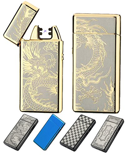 (New Release 2017) Electronic USB Rechargeable Lighters-The Best Cigarette Lighter With New Design, Windproof, Flameless, Dual Pulse Arc. Souvernir Gift For Men, Women & Ladies (Golden Dragon)