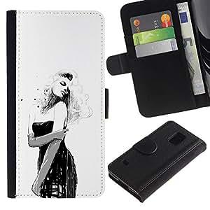 All Phone Most Case / Oferta Especial Cáscara Funda de cuero Monedero Cubierta de proteccion Caso / Wallet Case for Samsung Galaxy S5 V SM-G900 // Pin Up Girl