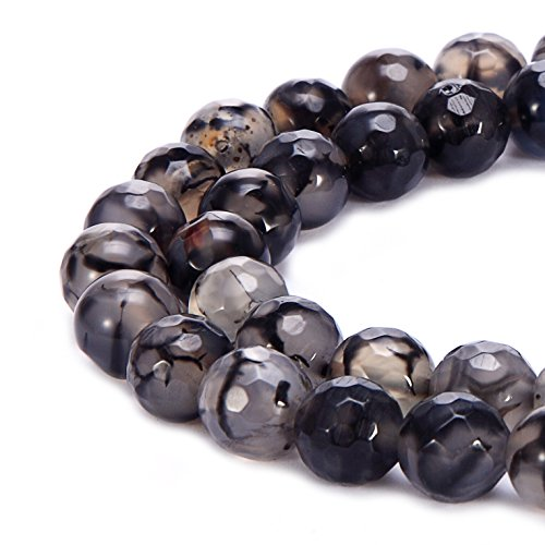 BRCbeads Facted Black&White Dragon Agate Gemstone Loose Beads Faceted Round 10mm Crystal Energy Stone Healing Power for Jewelry Making