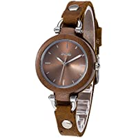 Wood Watch, Bosan Women Cauual CD Line Dial Unique Design Wooden Wrist Watch with Light Genuine Leather Strap (Walnut)