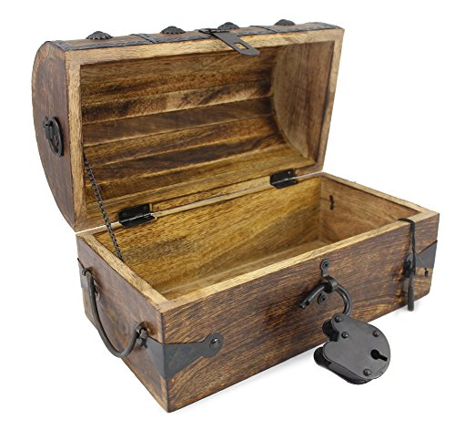 WellPackBox Wooden Pirate Treasure Chest Box With Antique Style Lock And Skeleton Key (Medium 4 Star 11 x 7 x 7)