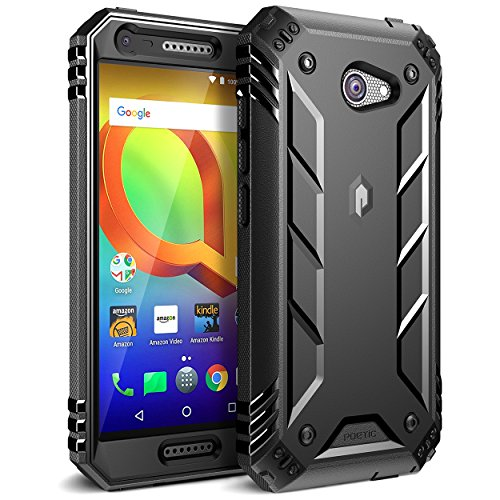 Alcatel A30 Rugged Case, Poetic Revolution [360 Degree Protection] Full-Body Rugged Heavy Duty Case with [Built-in-Screen Protector] for Alcatel A30 Smartphone (NOT Fit Alcatel A30 Plus) Black