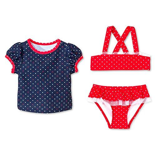 Circo Baby and Toddler Girls' 3-Piece Polka Dots Swim Rash Guard Set (12 Months, (Circo Blue Swimsuit)