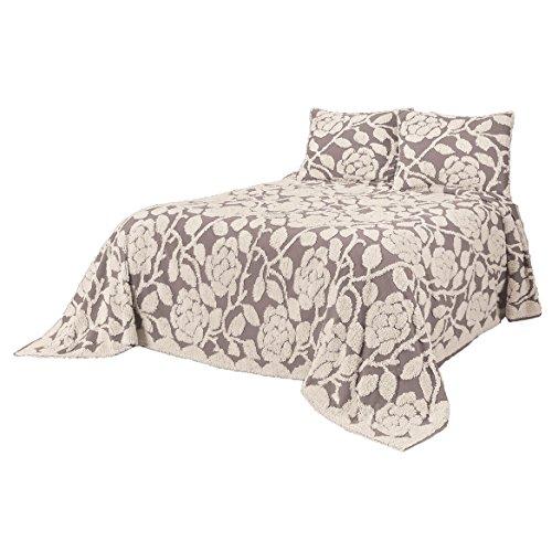 OakRidge The Grace Chenille Bedspread 100% Cotton, Floral Design, 5 Colors