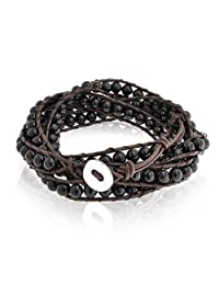 Bling Jewelry Stackable Black Onyx Gemstone Beads Brown Leather Wrap Bracelet