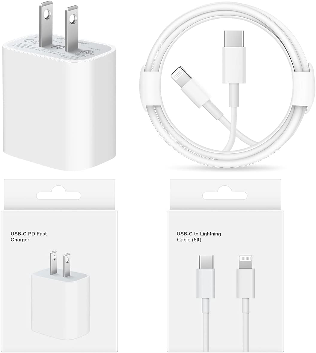 iPhone Fast Charger【Apple MFi Certified】 20W PD Type C Power Wall Charger with 6FT USB C to Lightning Cable Compatible iPhone 12/12 Mini/12Pro/12 Pro Max/11/11 Pro Max/Xs Max/XR/X, iPad Pro and More