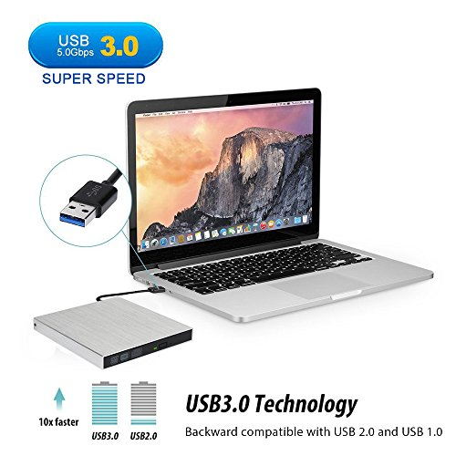 External DVD Drive USB 3.0, OfficeWinner Aluminum Portable CD DVD +/-RW Drive Slim DVD/CD Rom Rewriter Burner Writer, for Laptop, Macbook Pro, Macbook Air Support Mac OSX Windows Vista/7/8/10, Silver by OfficeWinner (Image #2)