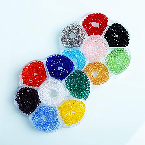 4mm Rondelle Beads - JuleeCrystal 1900Pcs Wholesale Faceted Briolette Crystal Glass Beads Finding Spacer Beads #5040 Assorted Colors ()