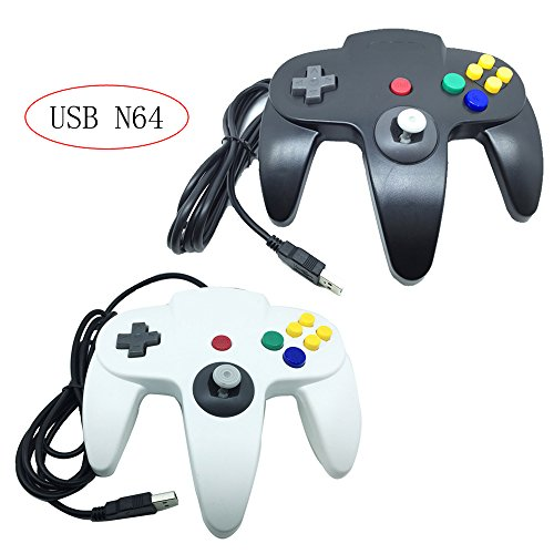Bowink 2 Packs Classic Retro N64 Bit USB Wired Controllers for PC and Mac (Black and White) (Logitech Snes Usb Controller)