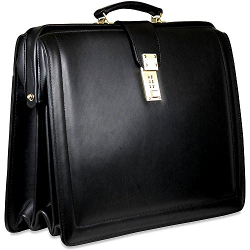 (Jack Georges Belting Triple Gusset Leather Briefbag w/Combination Lock in Black)