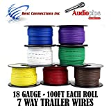 Trailer Light Cable Wiring Harness 100ft spools 18 Gauge 7 Wire 7 colors
