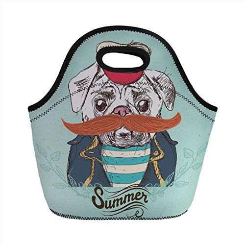 Neoprene Lunch Bag,Pug,Captain Dog with Hat Mustache Jacket and Shirt Cute Animal Funny Image Decorative,Navy Blue Pale Blue Orange,for Kids Adult Thermal Insulated Tote Bags