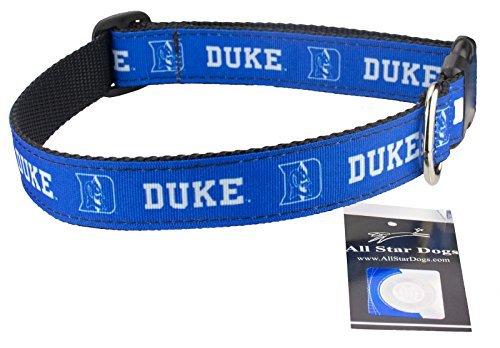 Nickel Blue Nylon Collar - All Star Dogs Duke Blue Devils Ribbon Dog Collar - Large