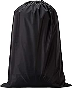 NISHEL Travel Laundry Bag for College Students, Drawsting Dirty Clothes Bag & Machine Washable, Fits Laundry Hamper or Basket, Black