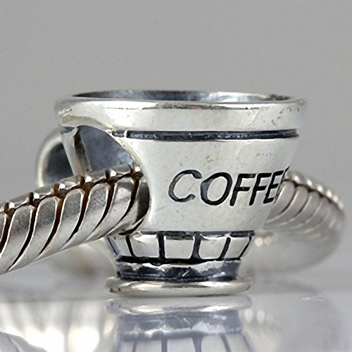 Finished Pandora Bracelet (Coffee Cup Beads Antique 925 Sterling Silver Charm for European Chain Charms Bracelet)