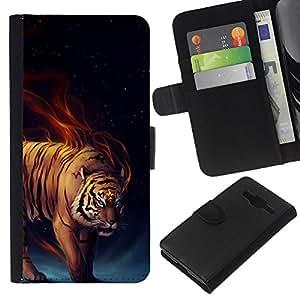 """Be-Star la tarjeta de Cr¨¦dito Slots PU Funda de cuero Monedero caso cubierta de piel Para Samsung Galaxy Core Prime ( Tiger Llamas feroces Gato Salvaje Arte Blue Eyes"""" )"""
