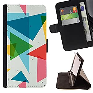 For Sony Xperia Z1 Compact D5503 POLYGON TRIANGLE PATTERN Leather Foilo Wallet Cover Case with Magnetic Closure