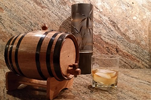 American Oak Barrel with Black Hoops- 2 Liter or .53 - Barrel Rum