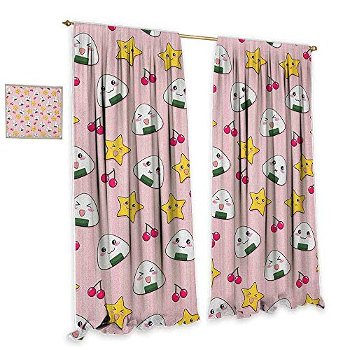(cobeDecor Anime Thermal Insulated Drapes for Kitchen/Bedroom Happy Crying Cute Cartoon Rice Balls Cherries Stars Pattern on Stripes Art Noise Reducing 72