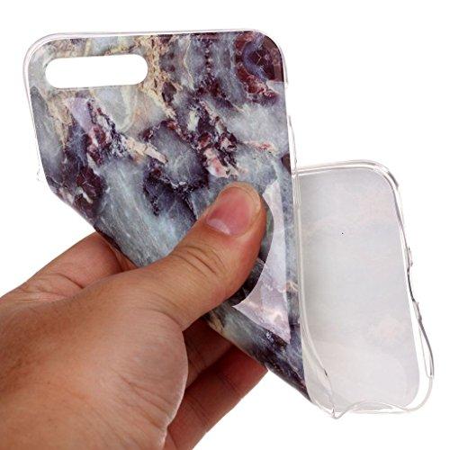 Custodia per iPhone 8 Plus, Custodia per iPhone 7 Plus ,JIENI Protezione TPU Marmo naturale naturale di alta qualità grigio bianco Morbido Bumper Cover Silicone Case per iPhone 8 Plus (2017) et iPhone